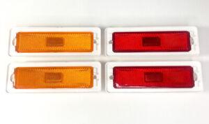 Front & Rear Side Marker Lens Lamp Light Assemblies For 1970-1974 Chevy Nova
