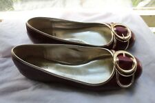 GUESS~ Rubygild~ Red /with White Gold Trim Flats /Size 7.5 M  /$179.00 when New