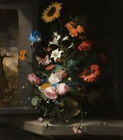 """oil painting handpainted on canvas""""Floral Still Life""""@15024"""