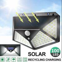100 LED Outdoor Solar Powered Wall Lamp Motion Sensor Security Light Flood Lamp