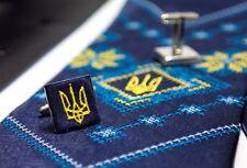 Ukrainian Ukraine Neck Tie Hanky Cufflinks Embroidered Tryzub Vyshyvanka Blue