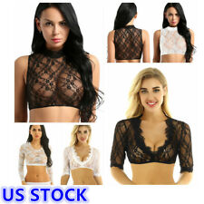 US Sexy Women Basic Floral Lace Transparent Crop Top Arm Shapers Blouse Clubwear
