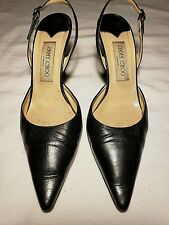 """JIMMY CHOO Black Leather Sling Backs 3-3/4"""" Heel Pointed Toes Size 39 1/2/ 9 US"""