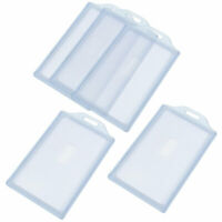Clear Gray Plastic Vertical Business Working ID Badge Card Holders 5pcs