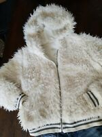 Aeropostale Fuzzy Faux Fur Bomber Jacket ~ Winter White Hooded Size XL Furry