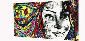 Framed Canvas style wall decor girl street art graffiti painting licensed