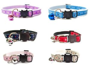 Cat Collar with Bell - Anchor Print   Safe Quick Release / Breakaway Buckle