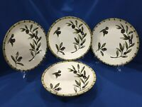 "Set/ 4 Williams Sonoma Liguria Olive Soup Pasta Bowls 9-3/8""-Excellent Pre-Owned"