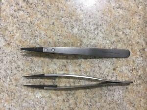 Lot Of (2) Techni-Tool 2ACF Tweezer Stainless Steel Plastic Flat/Round Tip