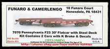 Funaro F&C 7070  PENNSYLVANIA Railroad F23 PRR 30' HD Flatcar K Brake  2-CAR Kit