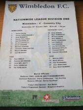 24/10/2001 Colour Teamsheet: Wimbledon v Coventry City (Folded, Writing On Front