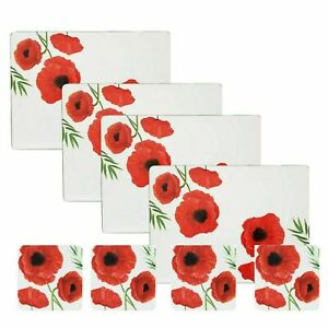 Set of 4 Poppy Placemat + Coaster Set Red Floral Design Table Wipe Clean Home
