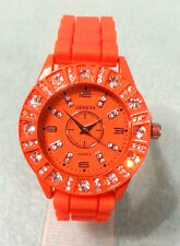Geneva Orange Double Dial Rhinestone Silicone Band Wrist Watch Ladies