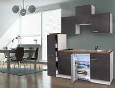 Cucina Singola Blocco Angolo Cottura Mini 180 cm Bianco Grigio Respekta