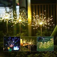 2X 120LED Garden Path Lights Solar Power Firework Lamp Starburst Stake Outdoor