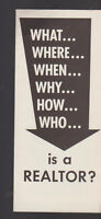 What Where When Why How Who is a Realtor Brochure 1950s Rochester NY