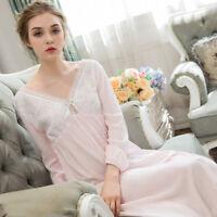 Lady Victorian Nightdress Lolita Nightgown Cotton Sleepwear Nightie Charm V Neck