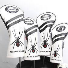 NEW WHITE WIDOW MAKER PREMIUM PU LEATHER HEAD COVER SET 4 COVERS D,3,5 & HYBRID