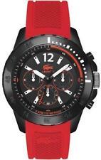 Lacoste Mens Fidji Black Dial Red Silicone Rubber Strap Watch 2010738