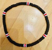 COOLE Surferkette / Halskette / Holzkette braun weiß rot necklace St. Pauli