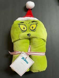 Pottery Barn Kids Dr Seuss Grinch Baby Hooded TOWEL Bath Wrap Christmas GIFT NW
