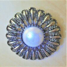 Pearl Brooch Broach Bling Costume Large Shiny Silver Coloured Circular Faux