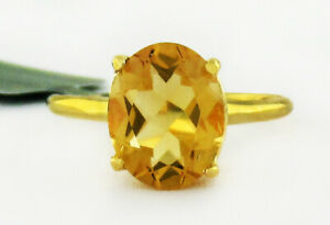 GENUINE 2.89 Cts YELLOW TOPAZ SOLITAIRE RING 10K GOLD * Free Certificate *