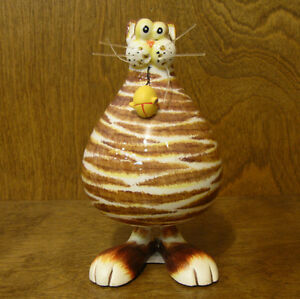 "ANIMAL ANTICS #4821-4  Brn/W CAT BOBBLE BODY 6"" NEW From Retail Store by RANGER"