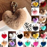 Rabbit Fur Pom-pom Key Chain Bag Charm Fluffy Puff Ball Top Key Ring Car Pendant