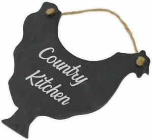 "Personalised Slate Hanging Chicken Hen Kitchen Sign Plaque ""Country Kitchen"""