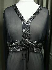 BNWT Monsoon 100% Silk Black Neglige Shift Dress UK18 EU46