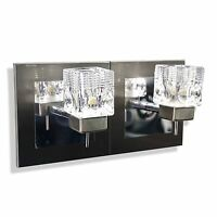 New Twin 2 Way Satin Chrome Colour Glass Cube Wall Light Fixture G9 LED Fitting