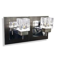 New Twin 2 Way Satin Chrome Cube Glass Wall Light Fixture G9 LED Fitting