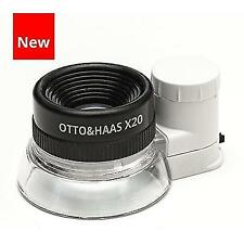 Otto&Haas LED Lighted 20X Jewelers Loupe Magnifier with Illuminated Triplet Loop