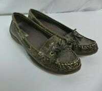 Sperry Top Sider Leather Boat Shoes Snake Skin Print Women's Size 6.5 M