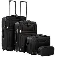 Conjunto de 4 maletas de viaje juego de maleta bolsa trolley con ruedas negro nu
