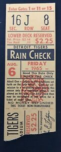 1965 Mickey Mantle Ticket HR #14 YR/ #468 Life New York Yankees 2-4/2B At Tigers
