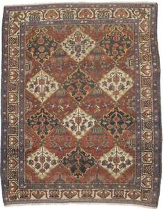5X7 Floral Garden Design Antique Muted Red Oriental Rug Farmhouse Carpet 4'6X6'6