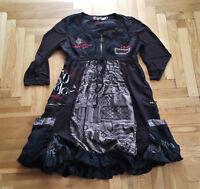 Desigual Schwarz Rot Grau Rundhals 3/4 Ärmel Bestickt Tunika Kleid Gr. 40 M - L