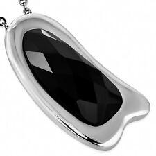 Anhänger modern Art Onyx  oval Silber Edelstahl Schwarz Kettenanhänger ME340