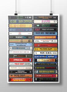 Hip Hop Poster: Cassette Print, Classic Hip Hop Albums, Fan, Gift, Art