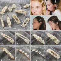 Women White Beautiful Pearls Hairpins Hair Clips Headwear Lady Hair Accessory