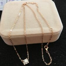 0.15cts Natural Diamond 18K Rose Gold Square Pendant Necklace