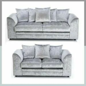 Crushed Velvet Sofa Corner Suite 3 2 Seater Armchair Set Silver Chicago Chairs