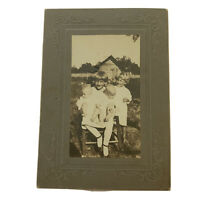 Antique Cabinet Card Photograph Sweet Little Children With Twin Babies Photo