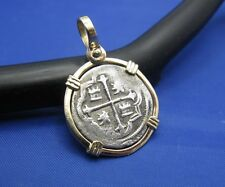 14K Gold Bezel 1 Reale Atocha Treasure Reproduction Charm Pirate Piece of Eight