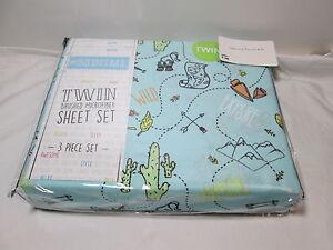 New # Bedtime EXPLORE ADVENTURE Twin  Sheet Set ~ Map, binocular, Cactus, Arrow