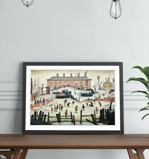 LS Lowry The Cricket Match People FRAMED WALL ART PRINT ARTWORK PAINTING 4 SIZES