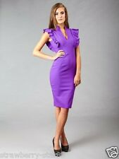 Hybrid Dress with Deep V Neck and Frill Sleeves In Purple UK 8 NWT RRP £85.00