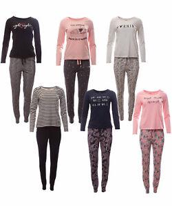 Damen Pyjama Set Schlafanzug Schlafhose + Langarm Oberteil für erholsamen Schlaf